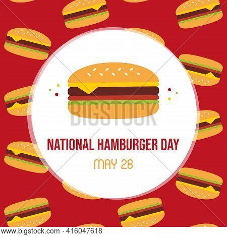 National Hamburger Day Vector Cartoon Style Greeting Card, Illustration With Tasty Hamburgers Patter