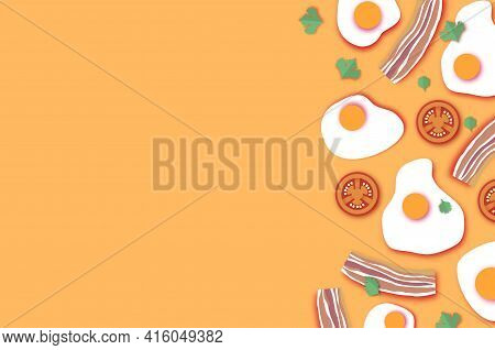 Bacon And Eggs, Tomato. Omelet Papercut Style. Farm Products. Fast Food. Natural Product. Food Ingre