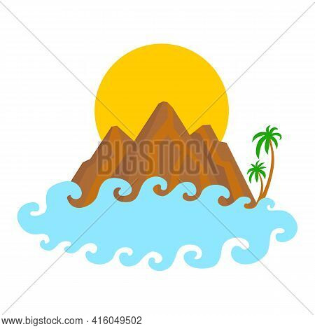 Rocky Mountains With Palms, Sun And Cloud. Vector Isolated On White.
