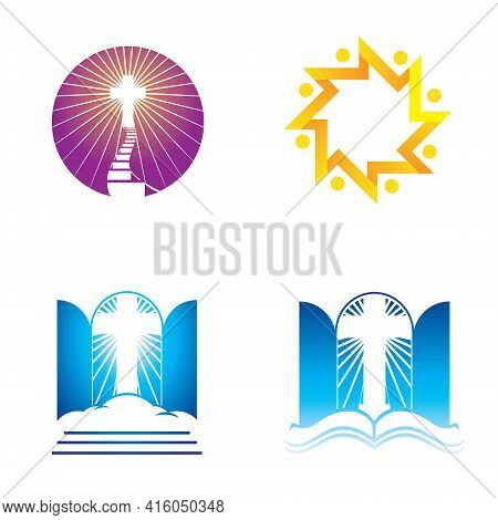 Church, Religion And Faith Icon Set For Design Element, Logo,  T Shirt Print Or Any Other Purpose.