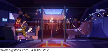 Young Woman At Home Attic Writing With Wine Bottle On Floor At Night Time. Thoughtful Girl Compose V