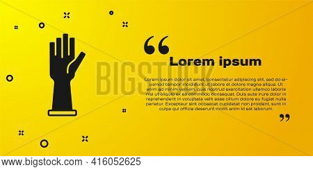 Black Medical Rubber Gloves Icon Isolated On Yellow Background. Protective Rubber Gloves. Vector