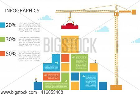 Tower Crane Builds Building. Infographic Concept Of Building Business.