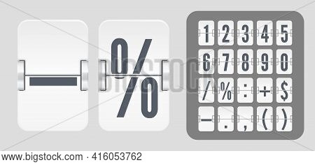 Vector Numeric Template For Your Design. Set Of Flip Scoreboard With Numbers And Symbols For White C