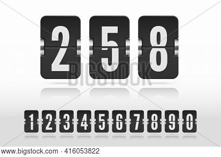 Set Of Flip Floating Numbers On A Mechanical Scoreboard With Reflection. Vector Template For Your De