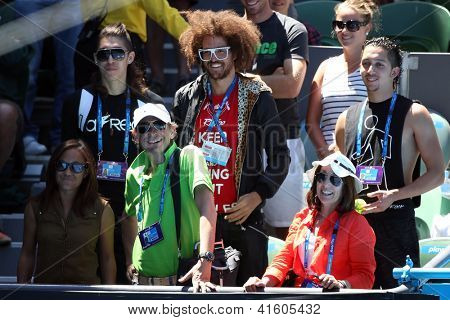 MELBOURNE,  VC - JANUARY 23: Stefan Gordy of LMFAO in the crowd during an Australian Open match at Rod Laver on January 23rd 2013 in Melbourne.
