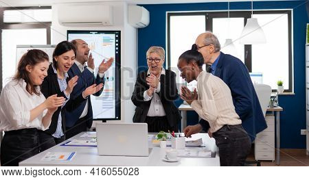 Motivated Happy Diverse Business Team People Clapping Celebrating