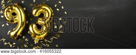 Golden Foil Balloon Number Ninety Three. Birthday Or Anniversary Card With The Inscription 93. Black