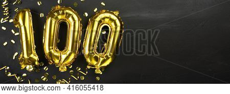 Golden Foil Balloon Number Ninety One Hundred. Birthday Or Anniversary Card With The Inscription 100