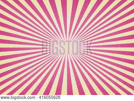 Circus Or Carnival Pink Template Of Swirl Stripes Stock Vertical Banner. Old Texture Retro Cinema Si