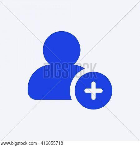 Add friend blue icon for social media app flat style