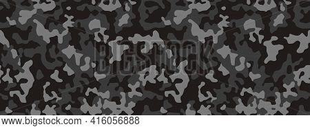 Camouflage Pattern Background, Seamless Vector Illustration. Classic Clothing Style Masking Dark Cam