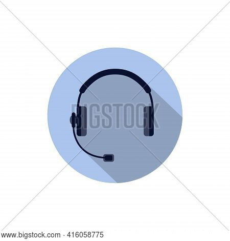 Headphones With Microphone, Headset. Color Isolated Image In A Circle, Vector Illustration