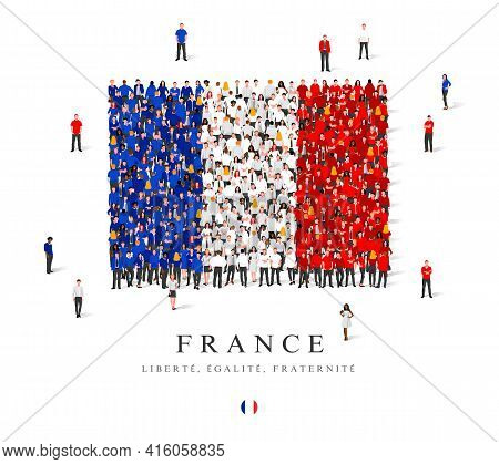 A Large Group Of People Are Standing In Blue, White And Red Robes, Symbolizing The Flag Of France. V