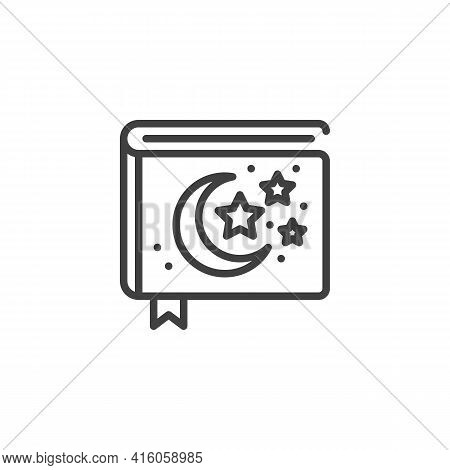 Bedtime Stories Book Line Icon. Linear Style Sign For Mobile Concept And Web Design. Book Of Fairy T