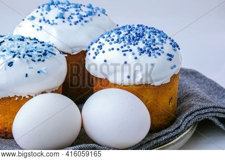 Easter Eggs. Happy Day Bright Easter. Orthodox Easter Holiday. Traditional Food. Creative Stylish Tr