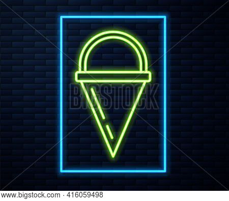 Glowing Neon Line Fire Cone Bucket Icon Isolated On Brick Wall Background. Metal Cone Bucket Empty O