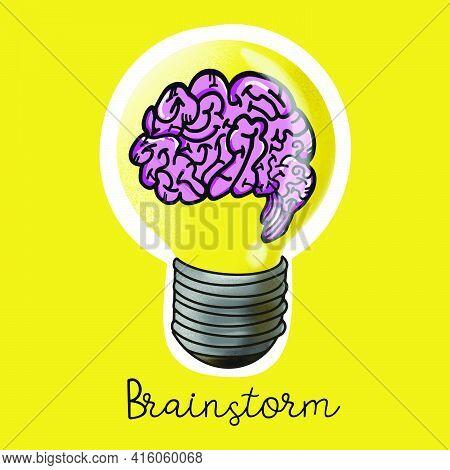 Brain In Light Bulb For Idea Or Brain Storm Concept.