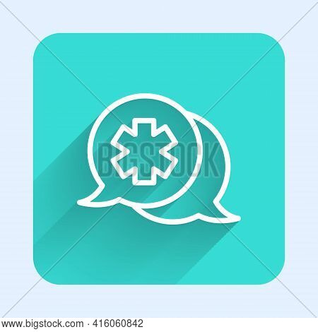 White Line Dialogue With The Doctor Icon Isolated With Long Shadow. Doctor And Patient Dialog. Consu