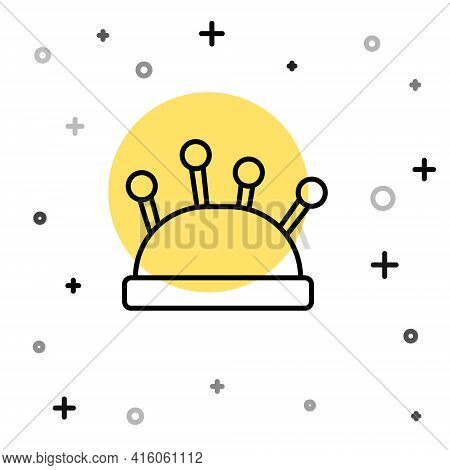 Black Line Needle Bed And Needles Icon Isolated On White Background. Handmade And Sewing Theme. Rand