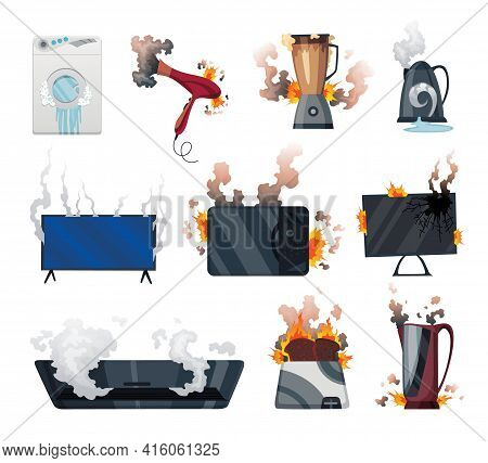 Broken Home Appliances. Damaged Electrical Household Equipment. Domestic Icons Isolated On White. Bu