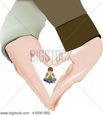 Couple Hands Joined In The Shape Of A Baby Heart Couple Hands Joined In The Shape Of A Baby Heart