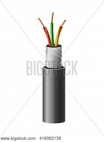 Electrical Copper Cable. Electric Wire. Connection Power Cable Power In Realistic Colored For Networ