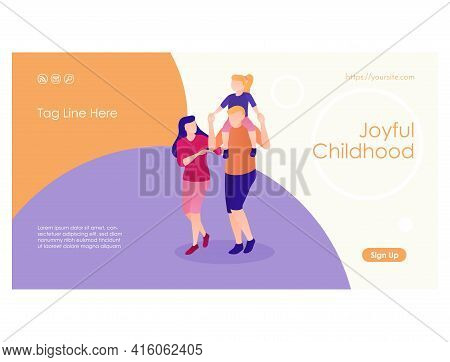 Cheerful Parenthood Web Page Flat Design Template