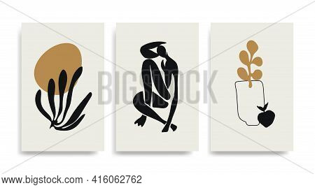 Contemporary Henri Matisse Abstract Vector Poster. Woman Figure Silhouette Line Art Matisse Painting