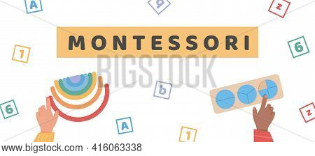 Vector Banner For Montessori School Or Kindergarden. Children Playing With Wooden Eco Friendly Toys.