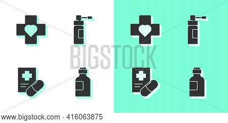 Set Bottle Of Medicine Syrup, Heart With A Cross, Medical Prescription And Nozzle Spray Icon. Vector