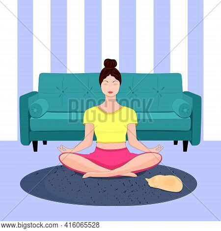 A Young Woman In A Yoga Pose, In A Lotus Position. Sitting On The Couch. Illustration