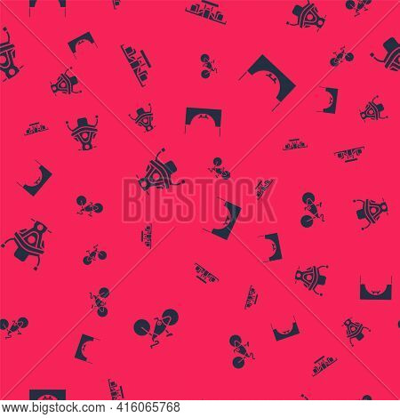 Set Bicycle, Formula 1 Racing Car, Snowmobile And Skate Park On Seamless Pattern. Vector