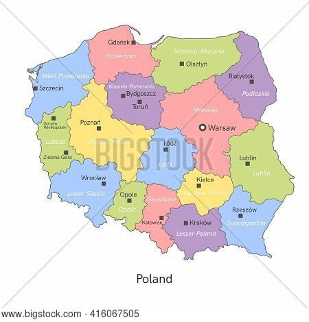 Vector Illustration Administrative Map Of Poland With Regions