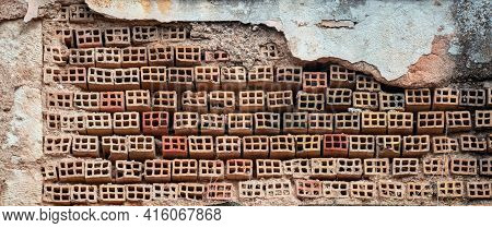 Brickwall, Masonry With Perforated Bricks With Round Holes Aged In Row Background, Textured. Ceramic