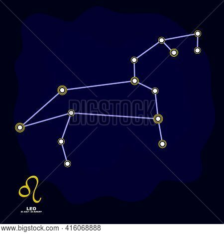 Vector Image With Leo Zodiac Sign And Constellation Of Leo For Your Project