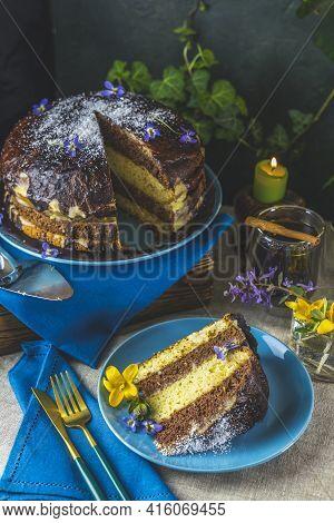 Plate With Slice Of Tasty Homemade Chocolate Sponge Cake On Table. Chocolate Cake Food Photography R