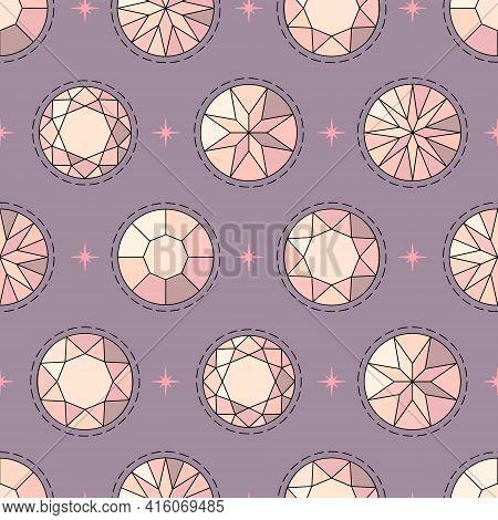 Seamless Feminine Magic Pattern With Pink Diamonds On A Dark Purple Background In Cartoon Style. Vec
