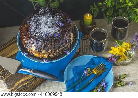 Delicious Homemade Cake Served On Wooden Table. Chocolate Cake Food Photography Recipe Idea. Selecti