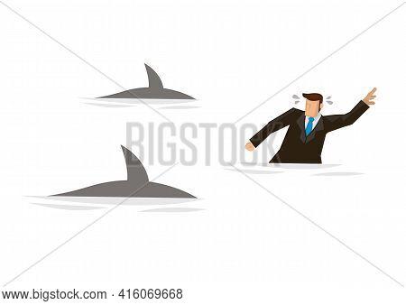 Businessman Swimming Panic Avoiding Shark Attacks. Concept Of Corporate Risks. Business Concept Flat