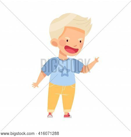 Angry Blond Boy Bullying Somebody And Finger Pointing Abusing The Weak Vector Illustration