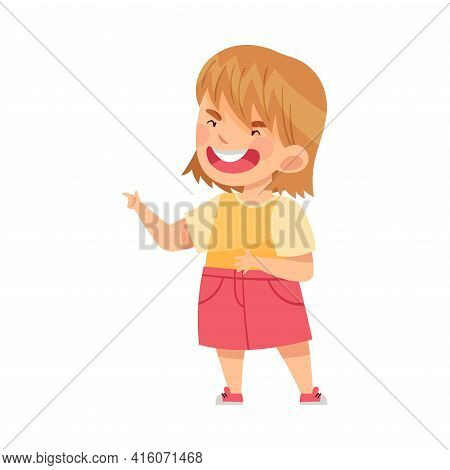 Angry Girl Bullying Somebody And Finger Pointing Abusing The Weak Vector Illustration