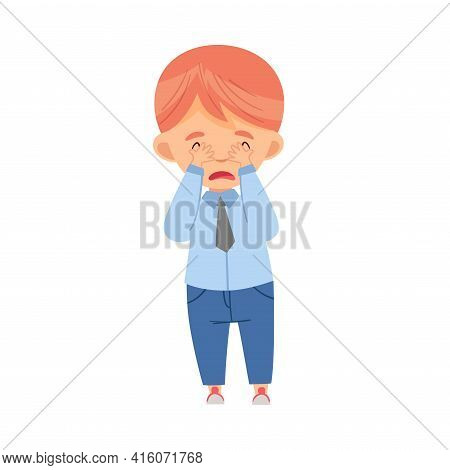 Bullied Boy Crying Suffering From Mockery And Sneer At School Vector Illustration