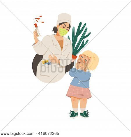 Little Crying Girl Afraid Of Doctors And Injection Vector Illustration