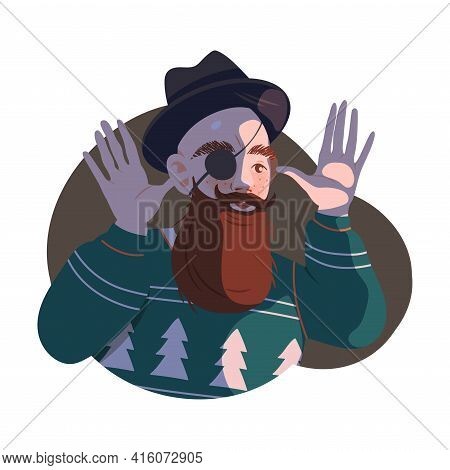 Bearded Man Hipster In Hat With Eye Patch Mocking Or Taunting Vector Illustration