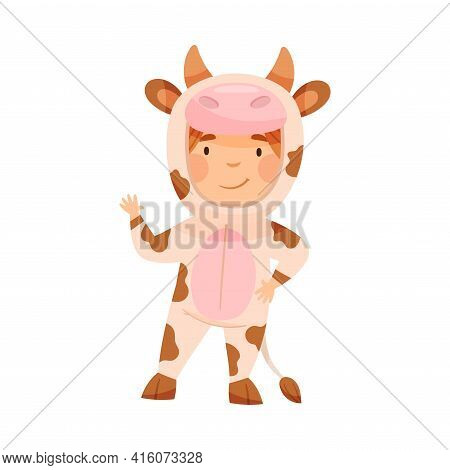 Cute Kid Wearing Cow Costume Role Playing And Having Fun Vector Illustration