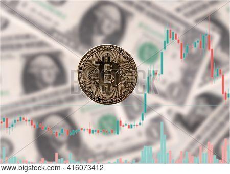 Bitcoin On Blur Charts Dollars Background