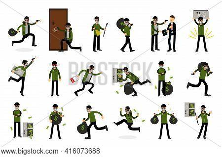 Male Burglar Or Robber In Black Mask Stealing Money Vector Illustration Set