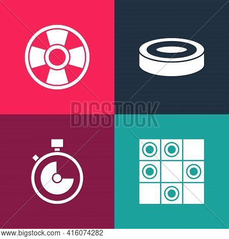 Set Pop Art Board Game Of Checkers, Stopwatch, Checker Chips And Casino Icon. Vector