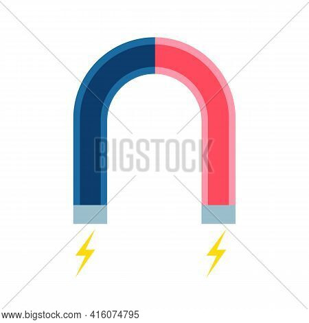 Red And Blue Horseshoe Magnet With Small Lightnings On Poles.